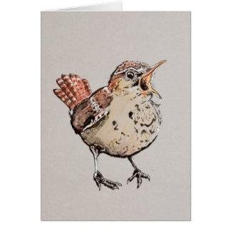 Singing Wren Illustration Greeting Card