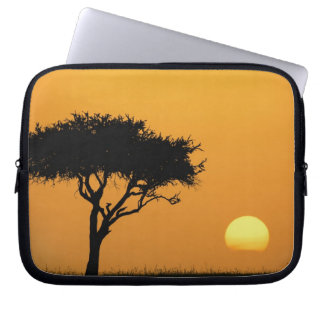 Single Acacia tree silhouetted at sunrise, Masai Laptop Computer Sleeves