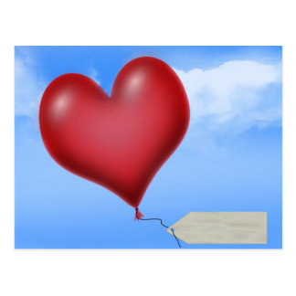 Single Balloon Heart With Message Tag Post Card