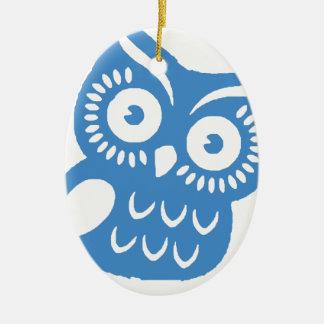 Single Blue Owl Ceramic Oval Decoration