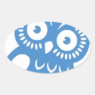 Single Blue Owl Oval Sticker