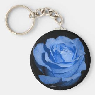Single Blue Rose Basic Round Button Key Ring