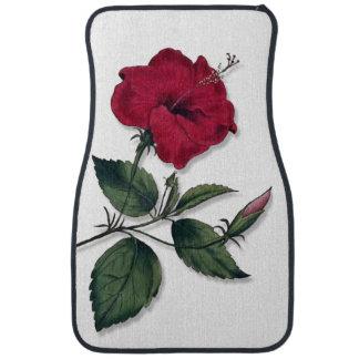 Single Botanical Style Dark Red Hibiscus Blossom Car Mat