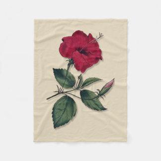 Single Botanical Style Dark Red Hibiscus Blossom Fleece Blanket