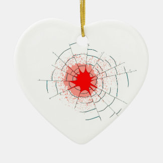 Single Bullet Holes in Glass Christmas Ornament