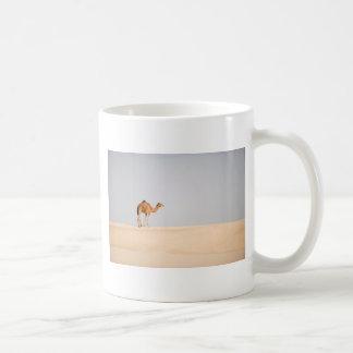 Single camel on Arabian sand dunes Basic White Mug