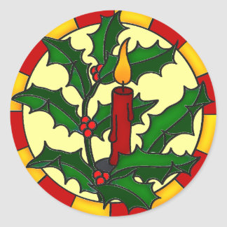 Single candle and holly classic round sticker