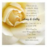 Single Creamy White Rose Wedding Reception Announcements