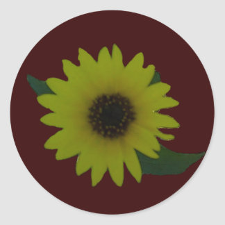 Single Cutout Wild Sunflower Round Sticker