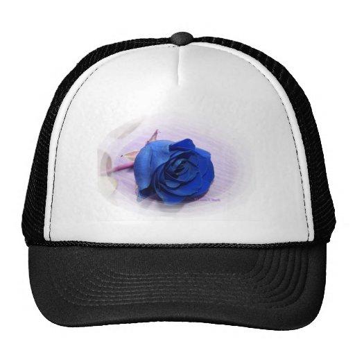 Single Dark Blue Rose, pale background Mesh Hats
