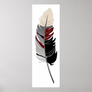 Single Feather  - Black, Gray, Maroon & Cream Poster