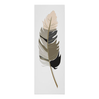 Single Feather  - Black, Gray, Taupe and Cream Poster