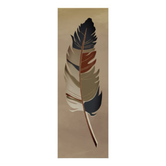 Single Feather  - Earth Tones Poster