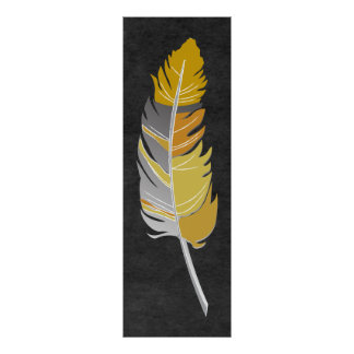 Single Feather  - Yellow & Gray on Chalkboard Poster