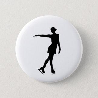Single Figure Skater Black & White 6 Cm Round Badge