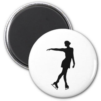Single Figure Skater Black & White 6 Cm Round Magnet