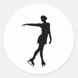 Single Figure Skater Black & White Round Sticker