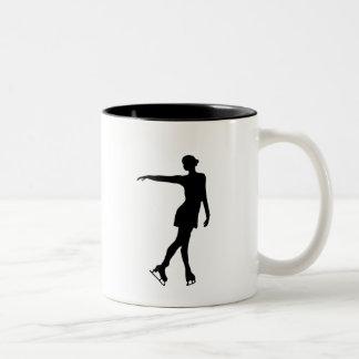 Single Figure Skater Black & White Two-Tone Mug
