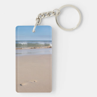 Single footprint on the beach. Double-Sided rectangular acrylic key ring