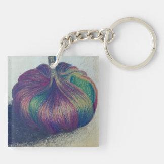 Single Garlic Clove Keyring Double-Sided Square Acrylic Key Ring