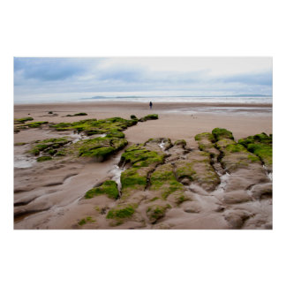 single girl walking near unusual mud banks poster