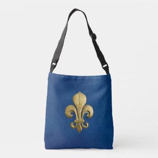 Single Gold Fleur De Lis on Blue Crossbody Bag
