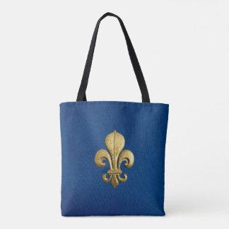 Single Gold Fleur De Lis on Blue Tote Bag