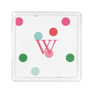 Single Initial Monogram Bright Scattered Dots Acrylic Tray