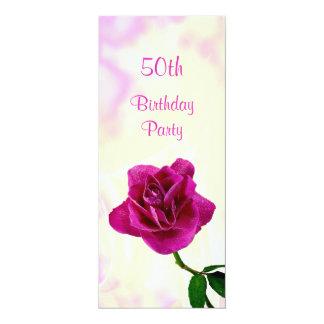 Single Lilac Rose 50th Birthday Card