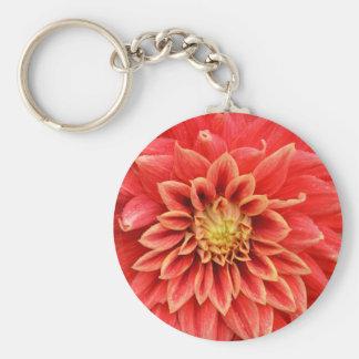 Single orange dahlia flower key chain