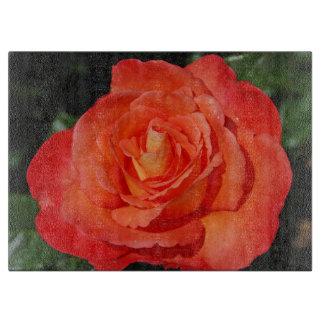 Single orange rose cutting board