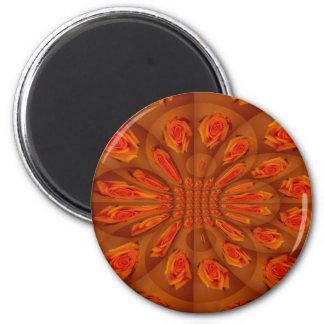 Single Orange Rose Pattern 6 Cm Round Magnet