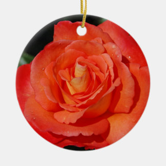 Single orange rose round ceramic decoration