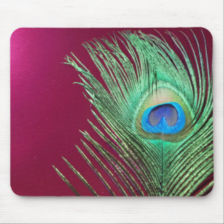 Single Peacock with Dark Pink Products Mouse Mat