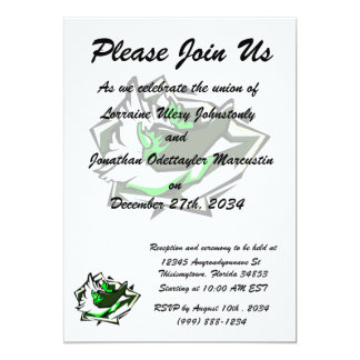 Single pepper green on abstract lettuce leaf 13 cm x 18 cm invitation card