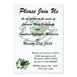 Single pepper green on abstract lettuce leaf 13 cm x 18 cm invitation card