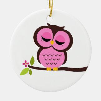 Single Pink Owl Christmas Ornament