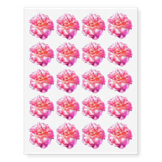 """Single Pink Rose Approx. 2"""" Temporary Tattoos"""