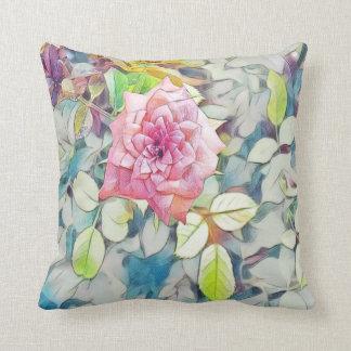 single pink rose cushion