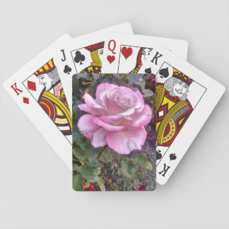 Single pink rose on a deck of cards