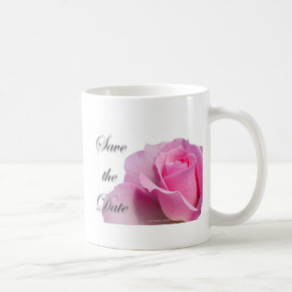 Single Pink Rose Save the Date Coffee Mugs