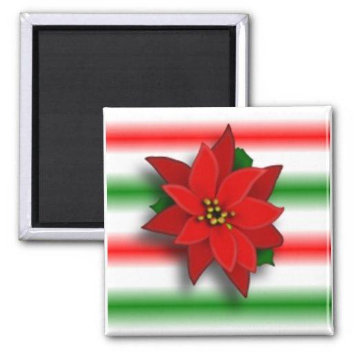 Single Poinsettia Magnets