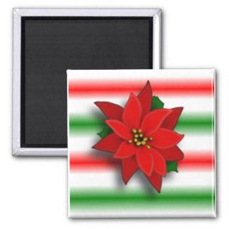 Single Poinsettia Square Magnet