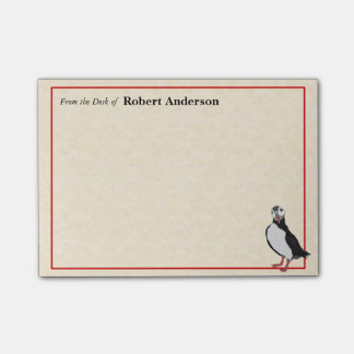 Single Puffin From the Desk of 4x3 PostIt Note Pad