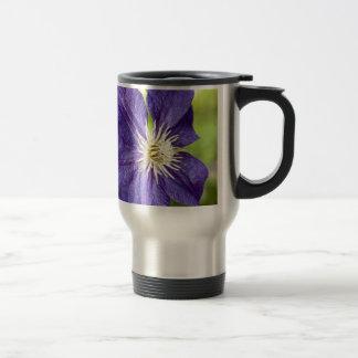 Single purple clematis flower mugs