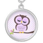 Single Purple Owl Necklaces
