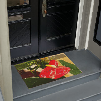 Single Red Anthurium Flower Doormat