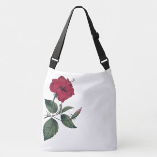 Single Red Botanical Hibiscus Flower Crossbody Bag