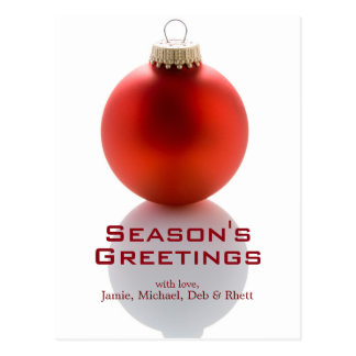 Single Red Christmas Tree Bauble On White Postcard