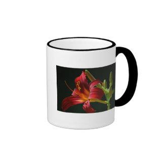 Single Red Daylily Ringer Coffee Mug